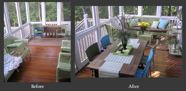Narrow porch before and after