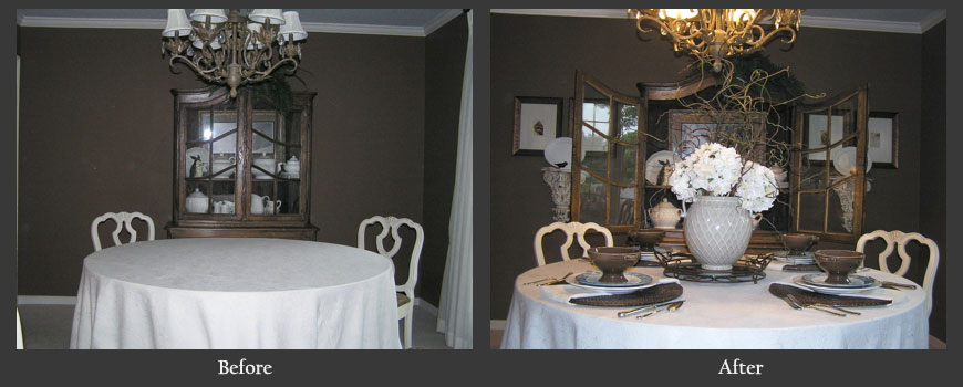 Dinning room with dressed table top before and after